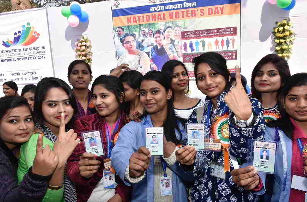 WE HAVE THE POWER: Youth celebrate National Voter Day at Adhiveshan Bhawan, in Patna, UNI