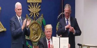 A video grab shows US President Donald J Trump announcing executive order restricting entry of Muslim refugees and immigrants into the US