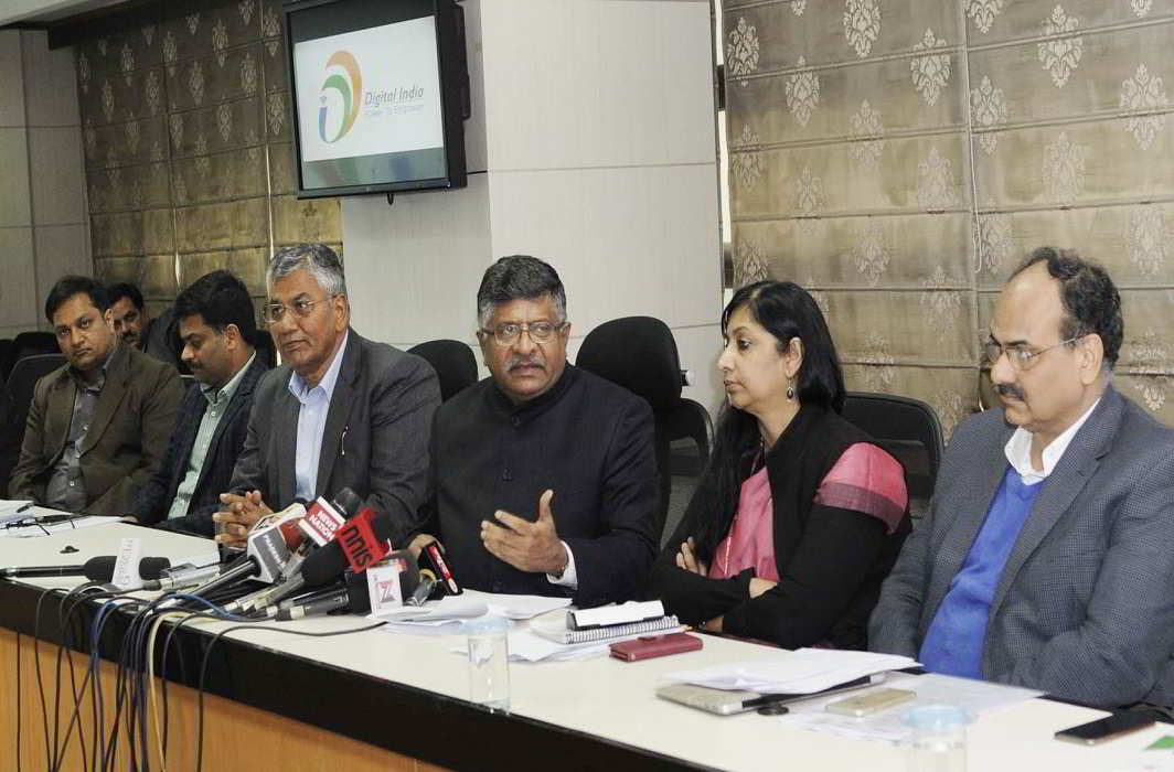 Union minister for electronics & information technology and law & justice Ravi Shankar Prasad addresses a press conference on the 'Achievements of UIDAI', in New Delhi on January 27. Also seen are minister of state for electronics & information technology and law & justice PP Chaudhary, secretary, ministry of electronics & information technology, Aruna Sundararajan and the director general and mission director, UIDAI, Dr Ajay Bhushan Pandey