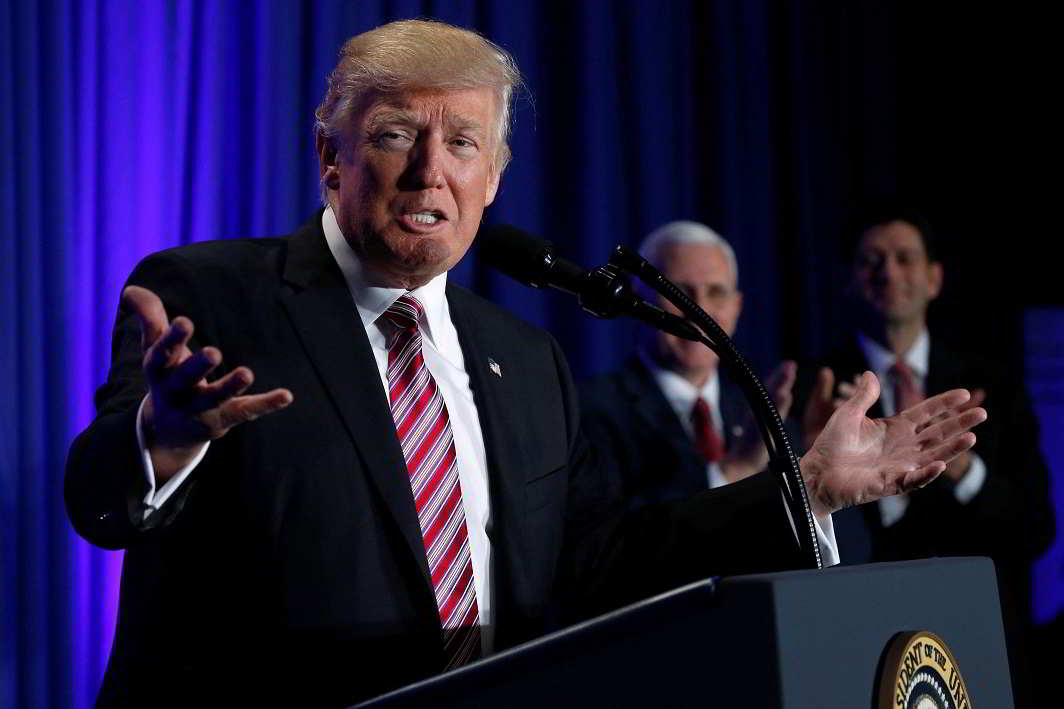 Trump speaks at a congressional Republican retreat in Philadelphia