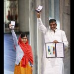 Nobel Peace Prize laureates Malala Yousafzai and Kailash Satyarthi (right) pose with their medals during the awards ceremony at the City Hall in Oslo, on December 10, 2014, Reuters/UNI