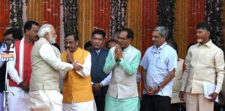 Modi greets BJP leaders on the occasion of the swearing-in of Adityanath Yogi, the new UP CM