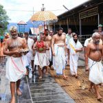 GOD ON THE HILL: The 'Kalabham Ezhunnallathu' ritual being performed at lord Ayyapppa temple at Sabarimala, UNI