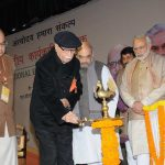 THREE'S COMPANY: Senior BJP leader LK Advani with Prime Minister Narendra Modi, BJP national president Amit Shah and Union finance minister Arun Jaitley light the ceremonial lamp to inaugurate a BJP National Executive Meeting, UNI