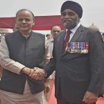 Canadian defence minister Harjit Singh Sajjan being received by Union minister for finance and defence Arun Jaitley in New Delhi on April 18, UNI
