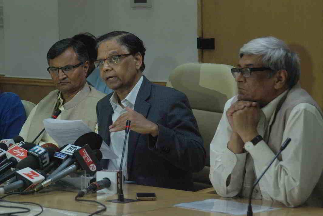 THREE-YEAR AGENDA: Vice-chairman, Niti Aayog, Arvind Panagariya, briefs mediapersons on the Draft Action Agenda for Three Years in New Delhi, UNI