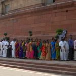 HONOURED GUESTS: A group of people from Tamil Nadu visit Parliament House on the last day of the Budget Session in New Delhi, UNI