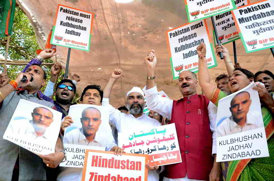 MERE PROTESTATIONS? Members of the BJP's minorities wing protest at Azad Maidan in Jadhav's hometown Mumbai demanding his release, UNI