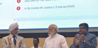 DIGITAL PUSH: Prime Minister Narendra Modi inaugurates the Integrated Case Management Information System, in New Delhi. Chief Justice of India Justice JS Khehar and Union minister for law and justice and information technology Ravishankar Prasad are also seen, UNI