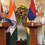 Modi meets his Mauritian counterpart