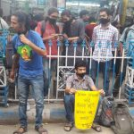 A gathering protests the Trinamool government's ban on rallies at College Square, central Kolkata, on June 10. The protest is ongoing