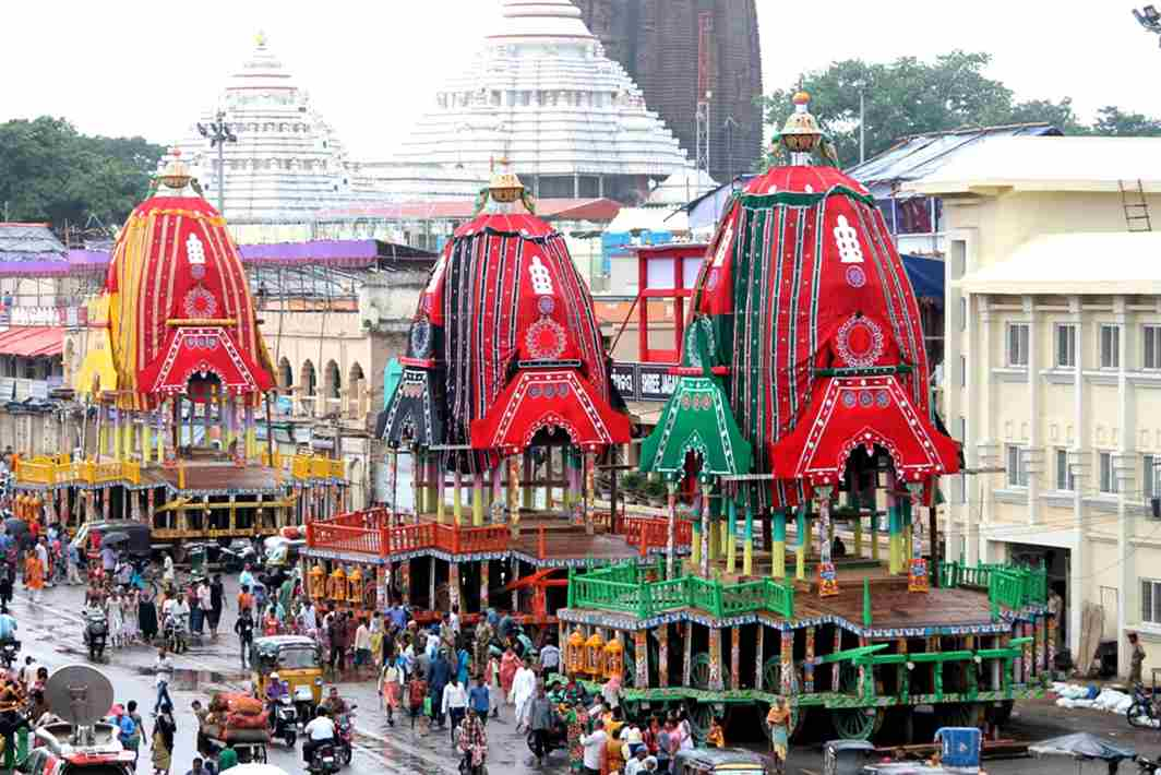 RIDE OF THE GODS: Chariots of Lord Jagannath, Balabhadra and Goddess Subhadra lined after being readied ahead of the annual Rathayatra Car Festival, in Puri, UNI