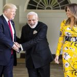 ALL SMILES: Prime Minister Narendra Modi with United States president Donald Trump and the First Lady, Melania Trump, at White House, in Washington DC, UNI