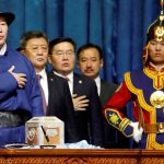NEW PROMISES: Mongolia's new president, Khaltmaa Battulga, takes oath in Ulaanbaatar, Mongolia. Reuters/UNI