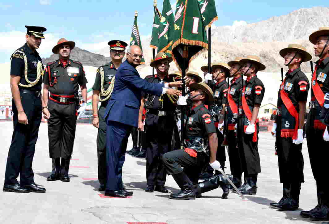 GO TO THE TOP: President Ram Nath Kovind presents the President's Colours to Ladakh Scouts Regimental Centre and five battalions on his maiden two-day visit to Ladakh, UNI