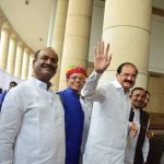 ELECT ME: NDA vice-presidential candidate M Venkaiah Naidu after casting his vote for the vice-presidential election at Parliament House in New Delhi, UNI