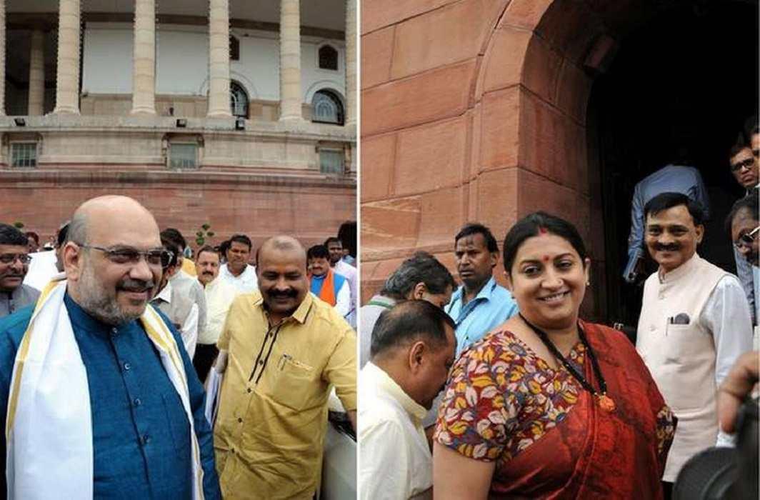 Amit Shah and Smriti Irani take oath as Rajya Sabha MPs