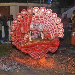 BOOM SHAKALA: An artiste performs the Theechamundi Theyyam, a ritual fire dance of Malabar, on burning embers as per tradition in Lavanyam 2017 as part of Onam celebrations at Fort Kochi, UNI