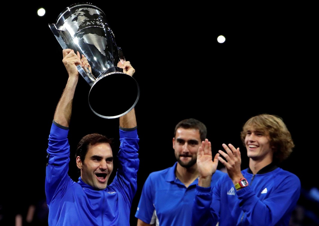 FUN CAMPAIGN: Members of Team Europe, Roger Federer, Marin Cilic and Alexander Zverev, celebrate after winning the Rod Laver Cup in Prague, Czech Republic, Reuters/UNI