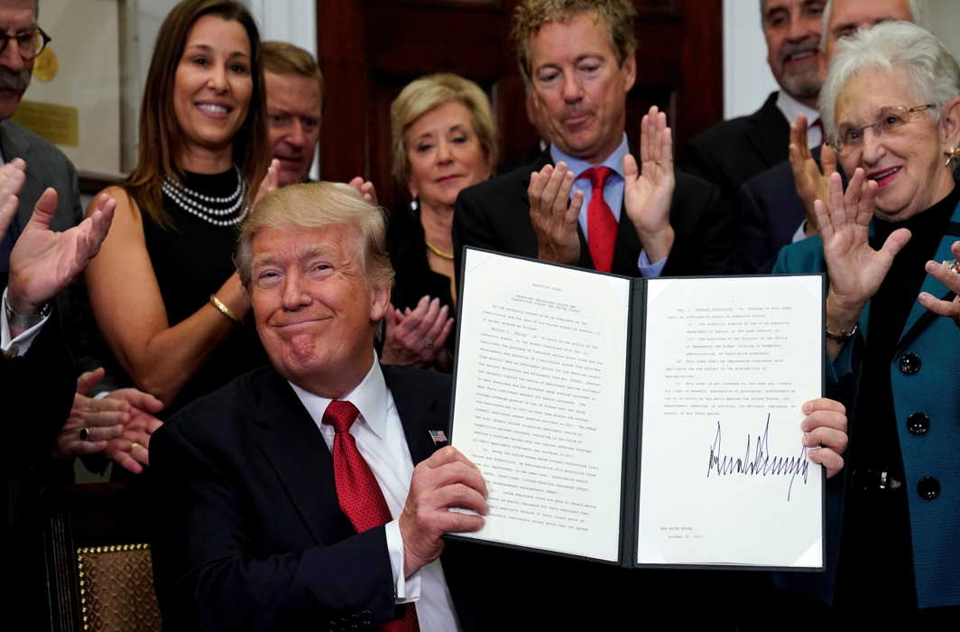 TIME FOR TRUMPCARE: US President Donald Trump smiles after signing an Executive Order to make it easier for Americans to buy bare-bone health insurance plans and circumvent Obamacare rules at the White House in Washington, US, Reuters/UNI