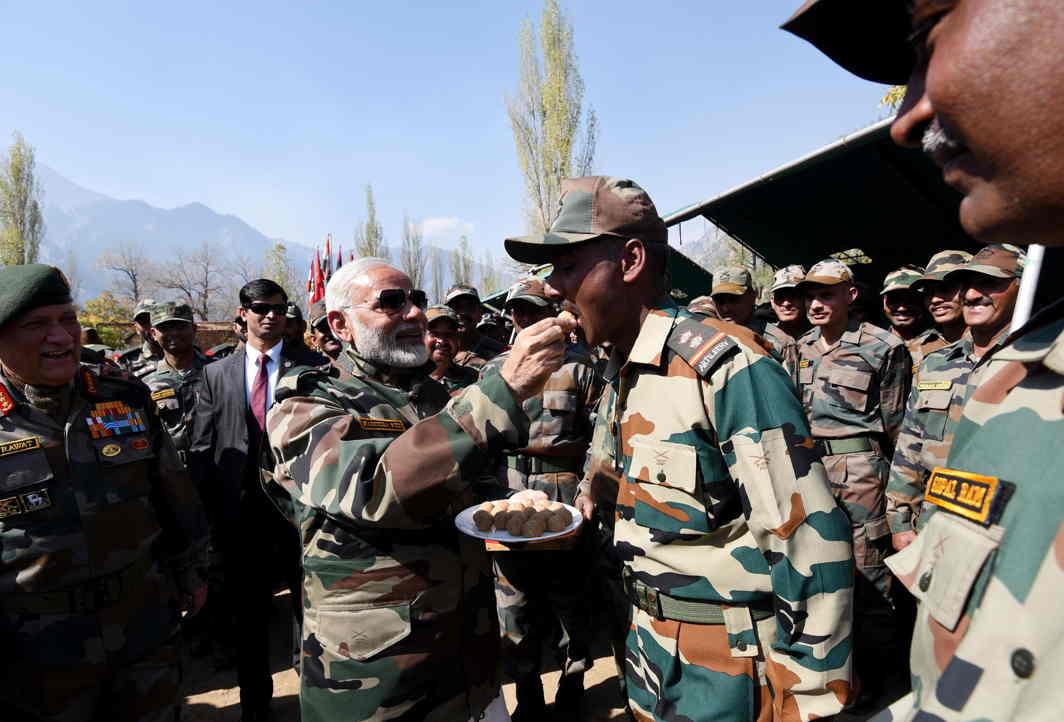 Modi celebrate diwali with soldier
