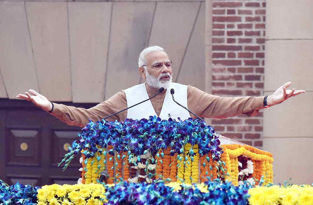 Prime Minister Narendra Modi addresses a gathering on the Rashtriya Ekta Diwas – to mark the 142nd birth anniversary of Sardar Vallabhbhai Patel – at Major Dhyan Chand National Stadium in New Delhi. Photo credit: PIB