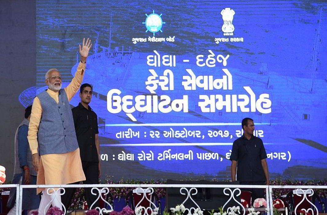 Modi inaugurates Ro-Ro ferry services in Gujarat