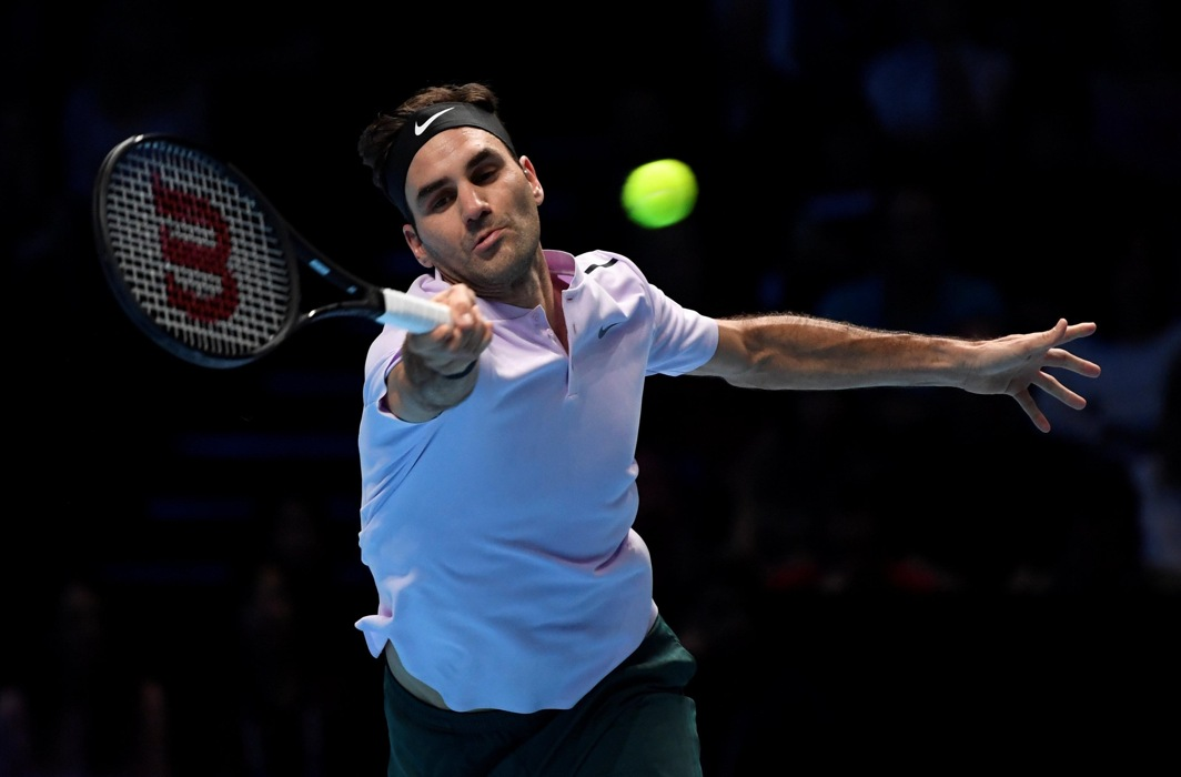 STILL THE KING: Switzerland's Roger Federer in action during his group stage match against Germany's Alexander Zverev during ATP World Tour Finals, at the O2 Arena in London, he won in three sets, Reuters/UNI