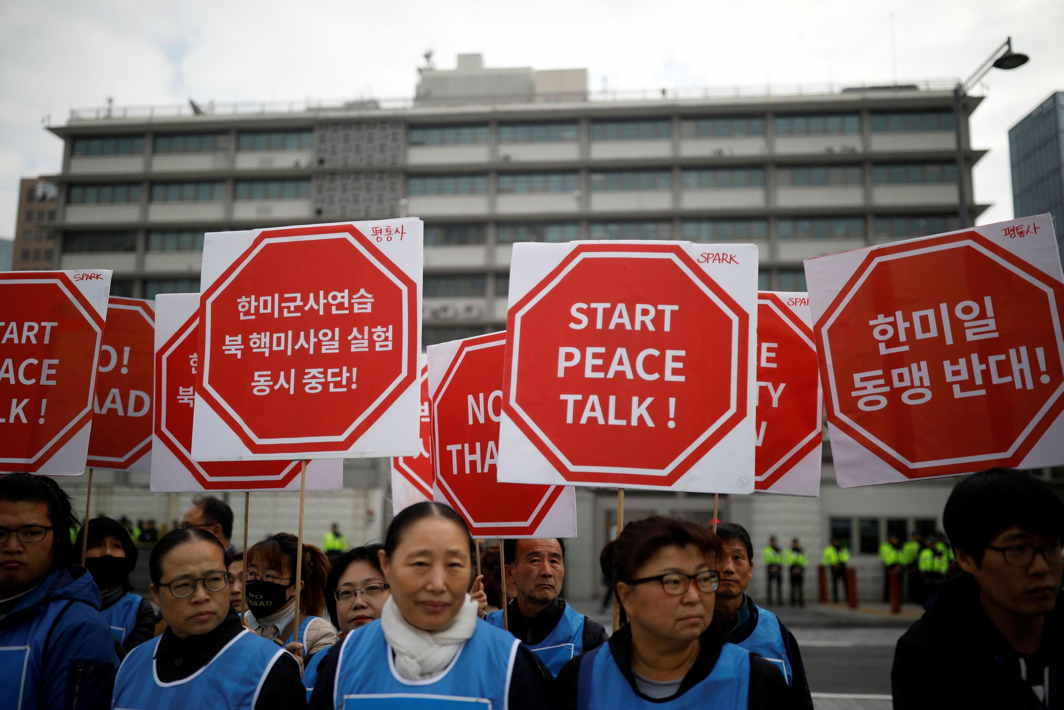 DETRACTORS AROUND THE WORLD: Protesters take part in an anti-Trump rally in front of US embassy in central Seoul, South Korea, Reuters/UNI