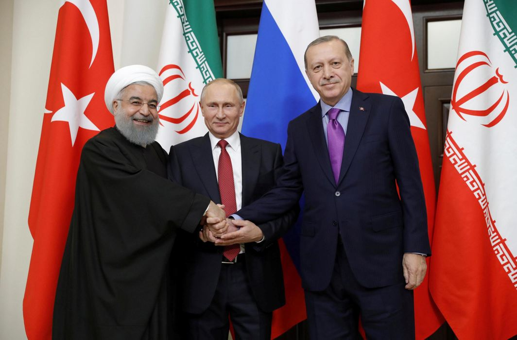 THREE'S COMPANY: Iran's President Hassan Rouhani, Russia's Vladimir Putin and Turkey's Tayyip Erdogan meet in Sochi, Russia, Reuters/UNI