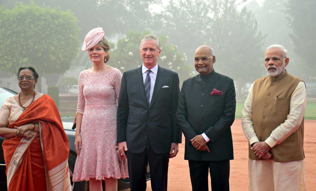 ALL IN A ROW: King Philippe and Queen Mathilde of Belgium being received by President Ramnath Kovind and Prime Minister Narendra Modi for a ceremonial reception at Rashtrapati Bhavan in New Delhi, UNI