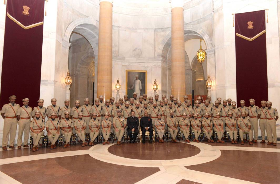 GOOD MORNING GENTLEMEN: President Ram Nath Kovind poses for a photograph with officer trainees of 69 Royal Regiment (2016 batch) of the Indian Police Service from Sardar Vallabhbhai Patel National Police Academy at Rashtrapati Bhavan in New Delhi, UNI