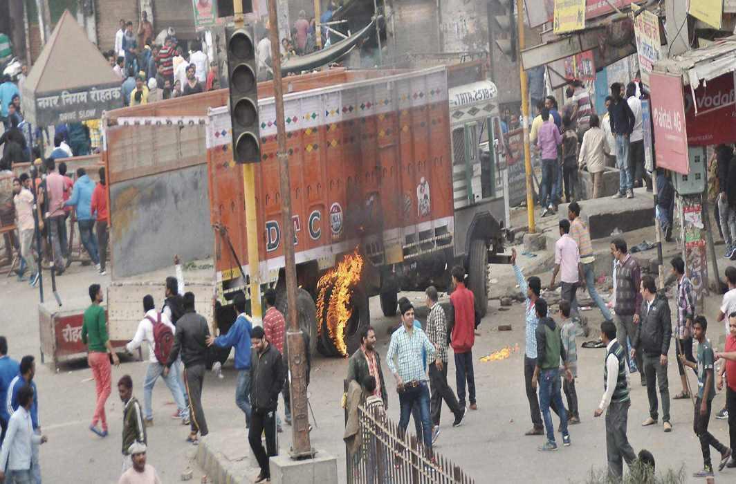 File photo of the violent Jat Andolan that hit Haryana in 2016. Photo credit: PTI.