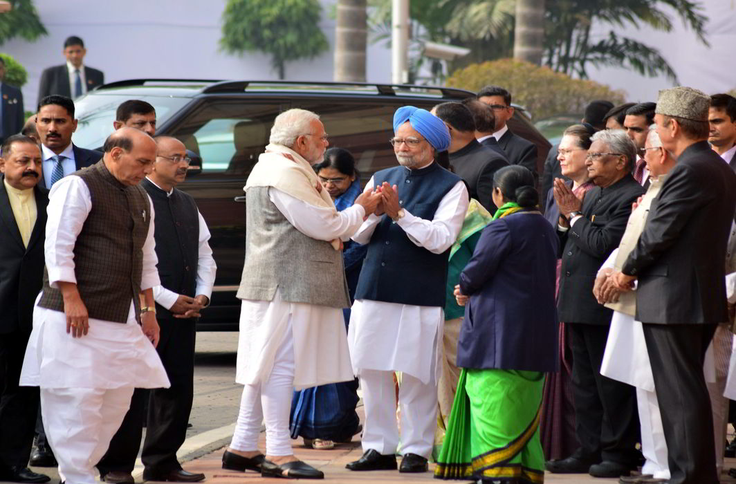 Days after a clash, PM Modi greets ex-PM Manmohan Singh in Parliament