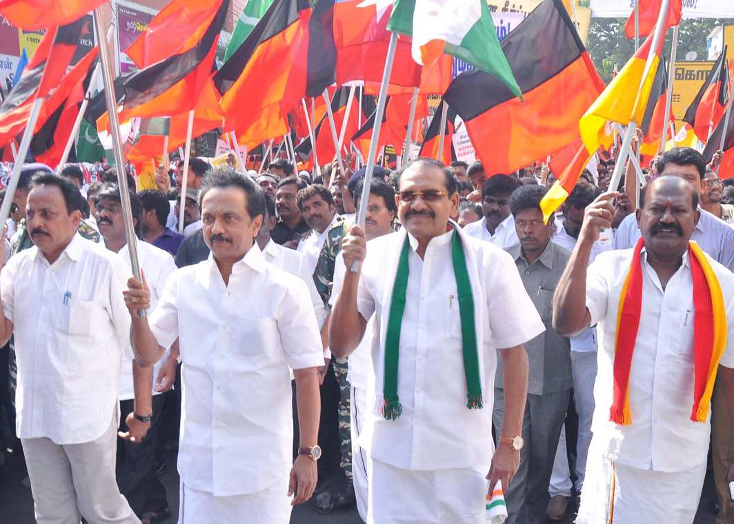 NOT GOING ANYWHERE: Opposition parties led by DMK working president MK Stalin stages a road roko, demanding withdrawal of hike in bus fare, in Chennai, UNI