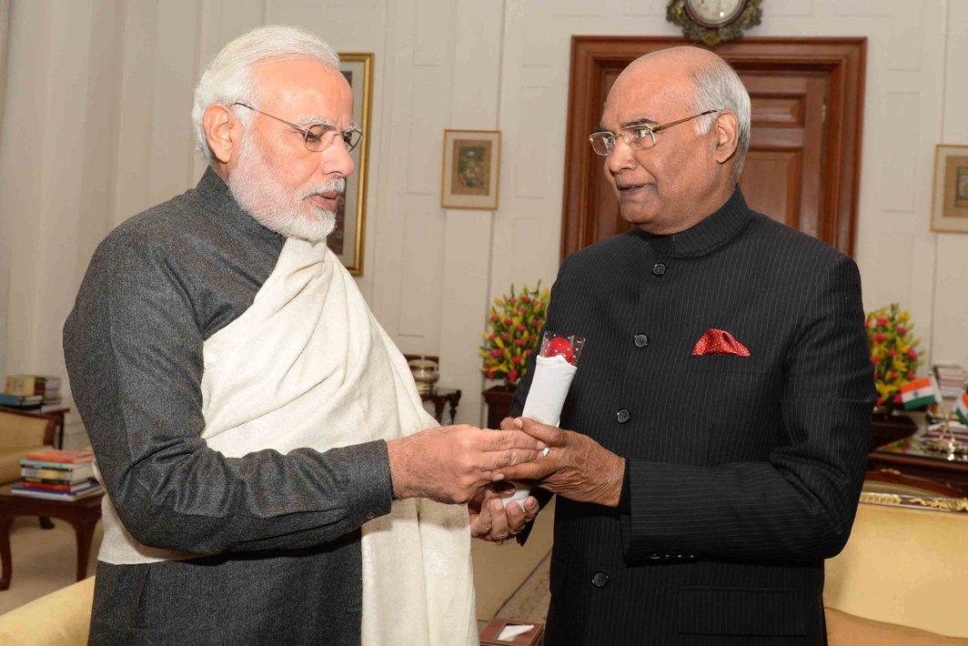 NAMASTE: Prime Minister Narendra Modi greets President Ram Nath Kovind in the new year at Rashtrapati Bhavan, in New Delhi, UNI