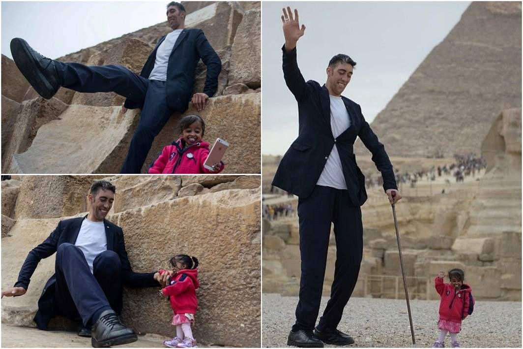 World's tallest man meets shortest woman for photo-shoot in Egypt