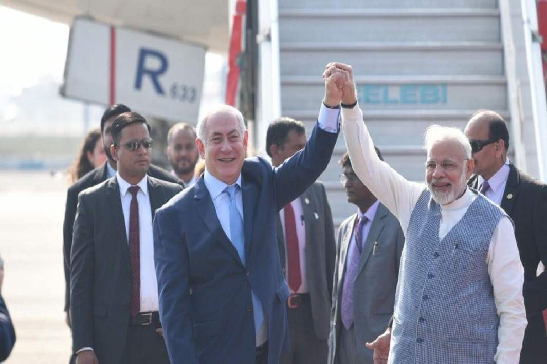 Netanyahu arrives for historic six day visit to India