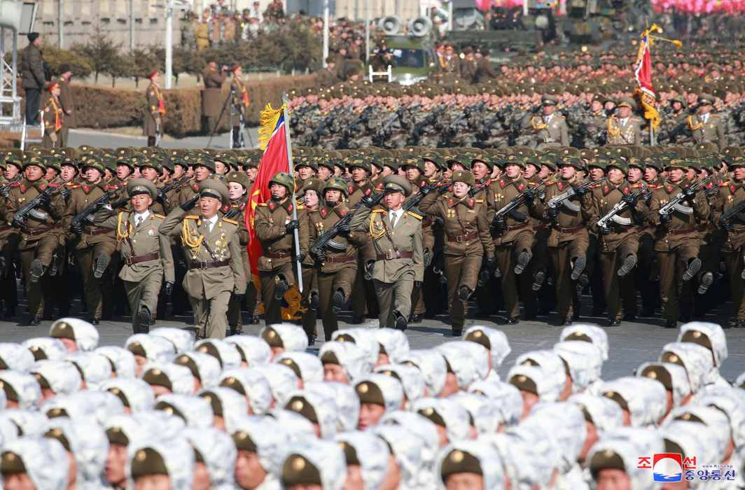 GRAND SPECTACLE: Soldiers attend a grand military parade celebrating the 70th founding anniversary of the Korean People's Army at the Kim Il Sung Square in Pyongyang, KCNA/Reuters/UNI