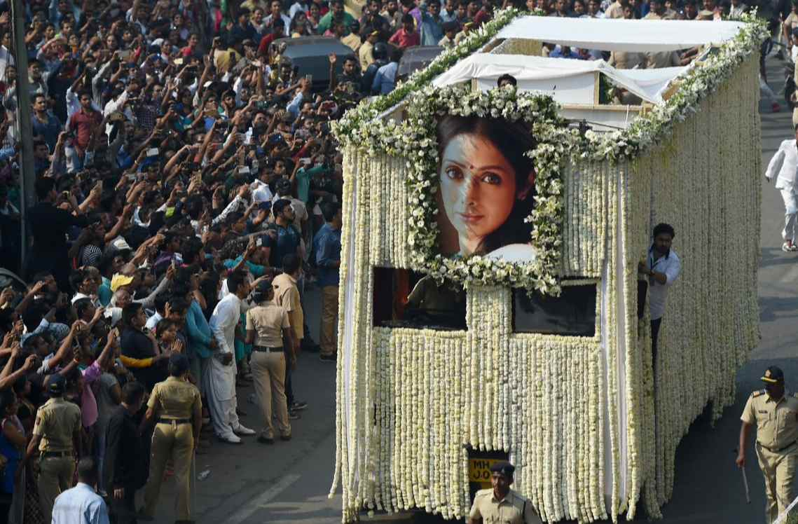 Sridevi's funeral: Sea of mourners pays final respect to yester-year's Bollywood queen