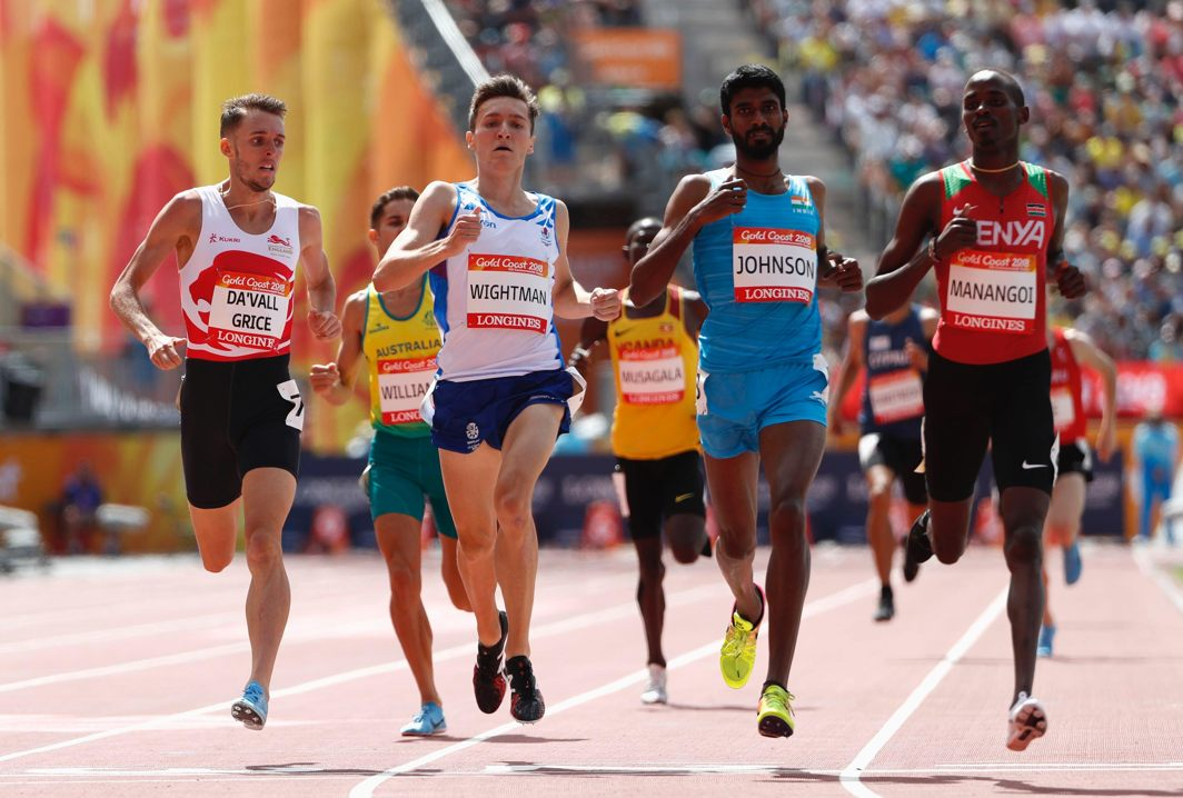 SPEED AND ENDURANCE: Elijah Motonei Manangoi of Kenya, Jake Wightman of Scotland, Charles Da'vall Grice of England, Jinson Johnson of India and fellow runners during the men's 1,500 metres heats at the Gold Coast 2018 Commonwealth Games, Reuters/UNI