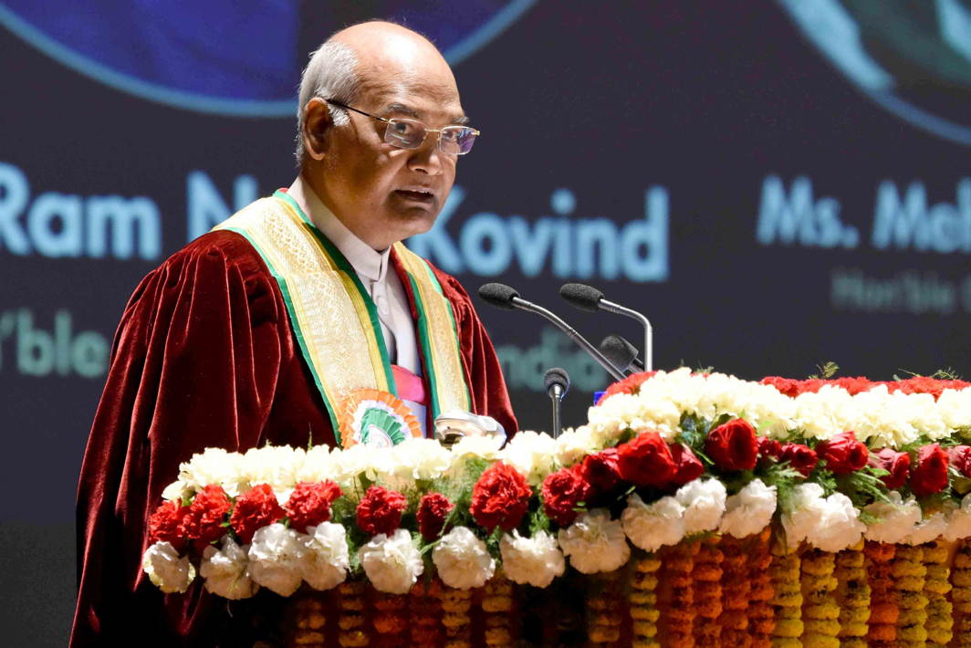 INSPIRATIONAL: President Ram Nath Kovind addresses students during the 6th Convocation of Shri Mata Vaishno Devi University, in Jammu, UNI