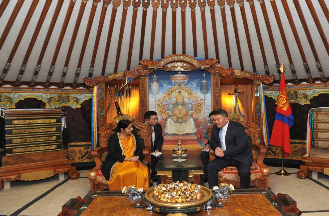 External Affairs Minister Sushma Swaraj meets President of Mongolia Khaltmaagiin Battulga in Ulaanbaatar, UNI