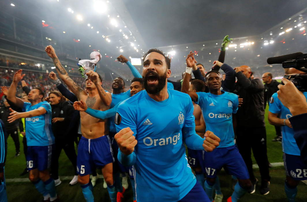 Marseille's Adil Rami celebrates after beating Olympique de Marseille during the Europa League Semi Final Second Leg at Red Bull Arena, Salzburg, Austria, Reuters/UNI