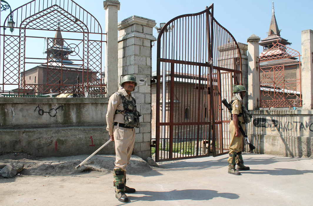 Closed gates of Jamia Masjid in downtown Srinagar after authorities imposed curfew like restriction following a call by separatists for protests, UNI