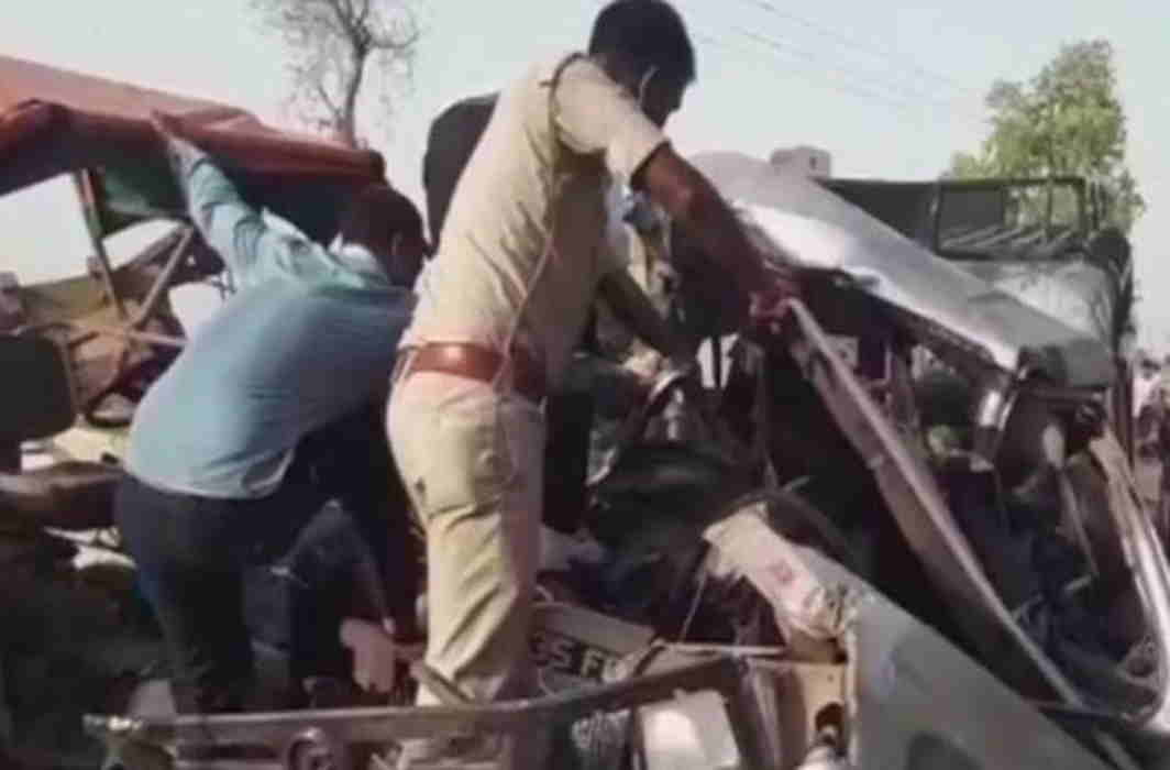 The sand-laden tractor-trolley hit into the overloaded jeep in MP