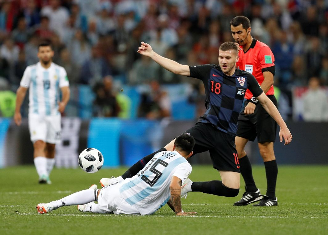 Argentina's Enzo Perez in action against Croatia's Ante Rebic during a World Cup Group D match being played at the Nizhny Novgorod Stadium in Nizhny Novgorod, Russia. Argentina lost 0-3 and their survival hinges on the outcome of Iceland's game against Nigeria, Reuters/UNI