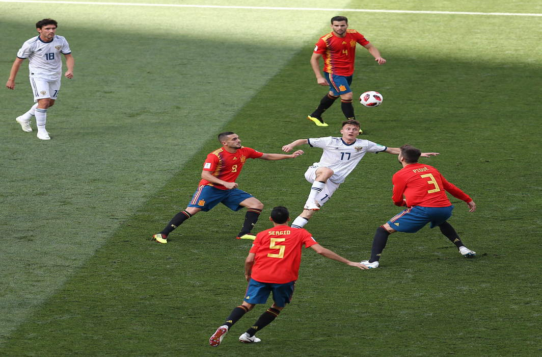 A tense moment between Russia and Spain, at Luzhniki Stadium, in Moscow. Russia won the game in a penalty shootout at 4-3, UNI