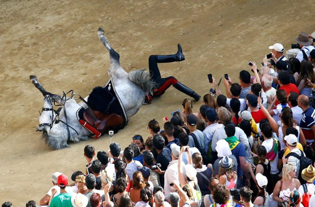 An Italian Carabinieri policeman falls down from his horse during their parade prior the Palio of Siena horse race, Italy, Reuters/UNI