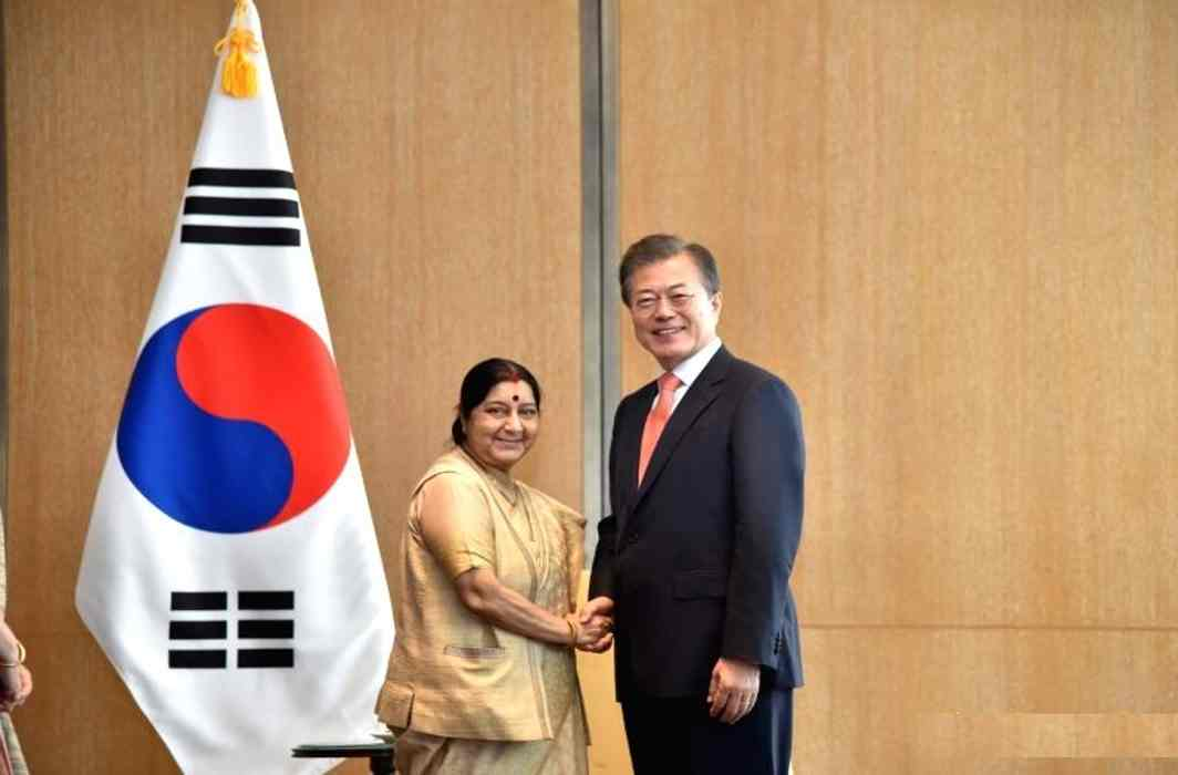 Sushma Swaraj meets South Korean President Moon